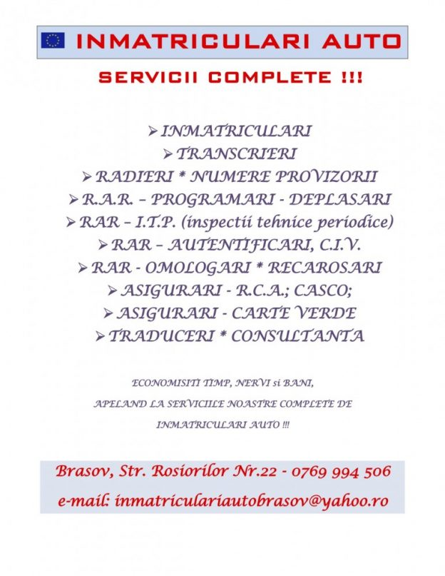 INMATRICULARI AUTO BRASOV - SERVICII COMPLETE